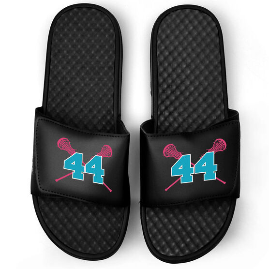 Girls Lacrosse Black Slide Sandals - Crossed Sticks with Number