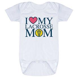 Girls Lacrosse Baby One-Piece - I Love My Lacrosse Mom