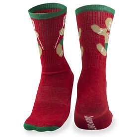 Girls Lacrosse Woven Mid-Calf Socks - Gingerbread Man (Red)