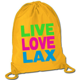 Lacrosse Sport Pack Cinch Sack Live Love Lax Neon