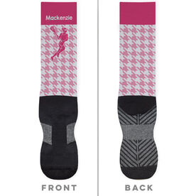 Girls Lacrosse Printed Mid-Calf Socks - Personalized Female Silhouette Houndstooth Pattern