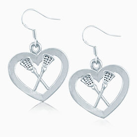 Silver Lacrosse Heart & Sticks Earrings