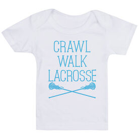 Girls Lacrosse Baby T-Shirt - Crawl Walk Lacrosse