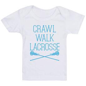 Girls Lacrosse Baby T-Shirt - Crawl Walk Lacrosse