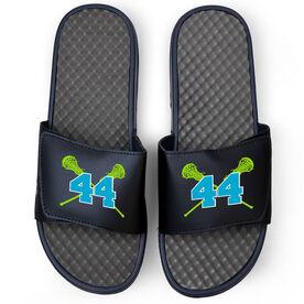 Girls Lacrosse Navy Slide Sandals - Crossed Sticks with Number