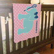 Girls Lacrosse Baby Blanket - Lax Elephant with Bow