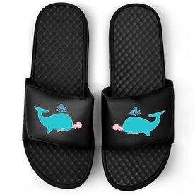 Girls Lacrosse Black Slide Sandals - Lax Whale