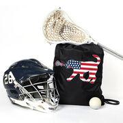 Girls Lacrosse Sport Pack Cinch Sack Patriotic LuLa the Lax Dog