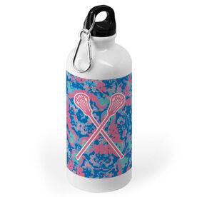 Girls Lacrosse 20 oz. Stainless Steel Water Bottle - Floral Crossed Sticks