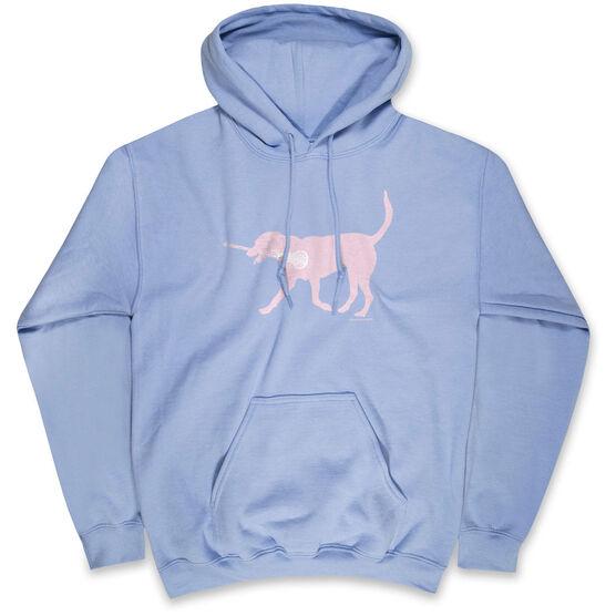 Girls Lacrosse Hooded Sweatshirt - LuLa the Lax Dog (Pink)