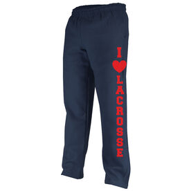 Girls Lacrosse Fleece Sweatpants - I Heart Lacrosse