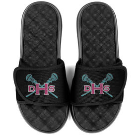 Girls Lacrosse PR SOLES® Adjustable Strap Recovery Slide Sandals - Monogram with Lax Sticks