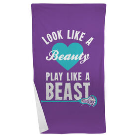 Girls Lacrosse Beach Towel Look Like A Beauty Play Like A Beast