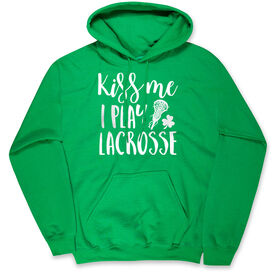 Girls Lacrosse Hooded Sweatshirt - Kiss Me I Play Lacrosse
