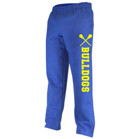 Lacrosse Fleece Sweatpants Team Name with Lacrosse Sticks