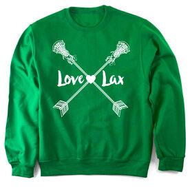 Girls Lacrosse Crew Neck Sweatshirt Love Lax Crossed Arrows