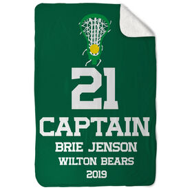 Girls Lacrosse Sherpa Fleece Blanket - Personalized Captain