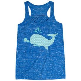 Girls Lacrosse Flowy Racerback Tank Top - Chevron Lax Whale