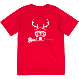 Girls Lacrosse Short Sleeve Performance Tee - Lax Girl Reindeer