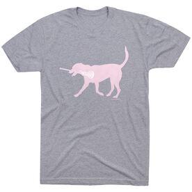 Girls Lacrosse Short Sleeve T-Shirt LuLa the Lax Dog(Pink)