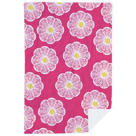 Girls Lacrosse Premium Blanket - Lacrosse Stick Flowers