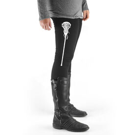 Girls Lacrosse High Print Leggings - Large Stick