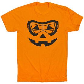 Girls Lacrosse Short Sleeve Tee - Lacrosse Goggle Pumpkin Face [Orange/Youth Medium] - SS