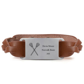 Lacrosse Leather Bracelet with Engraved Plate - Personalized Crossed Sticks