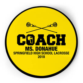 Girls Lacrosse Circle Plaque - Coach With 3 Lines