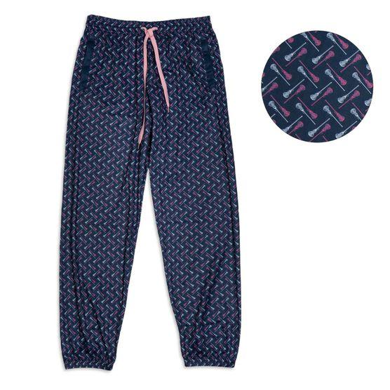 Girls Lacrosse Lounge Pants - Lacrosse Stick Herringbone (Pink)