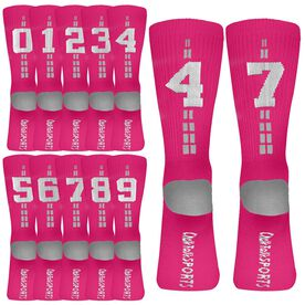 Team Number Woven Mid-Calf Socks - Pink/White