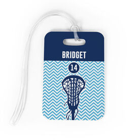 Girls Lacrosse Bag/Luggage Tag - Chevron Name and Number