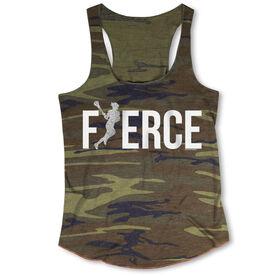 Girls Lacrosse Camouflage Racerback Tank Top - Fierce Lacrosse Girl with Silver Glitter