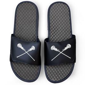 Girls Lacrosse Navy Slide Sandals - Crossed Sticks