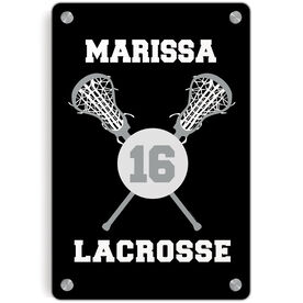 Girls Lacrosse Metal Wall Art Panel - Personalized Lacrosse Ball And Sticks