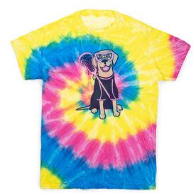 Girls Lacrosse Short Sleeve T-Shirt - Lily The Lacrosse Dog Tye Die