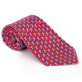 Laxer Players Pattern Red Lacrosse Silk Tie