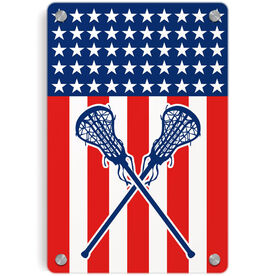 Girls Lacrosse Metal Wall Art Panel - USA Lax Girl