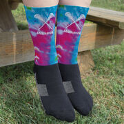 Girls Lacrosse Printed Mid-Calf Socks - Personalized Tie-Dye Pattern with Lacrosse Sticks