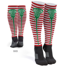 Girls Lacrosse Printed Knee-High Socks - Christmas Stripes