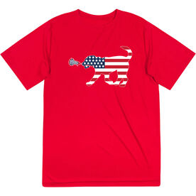 Girls Lacrosse Short Sleeve Performance Tee - Patriotic LuLa the Lax Dog