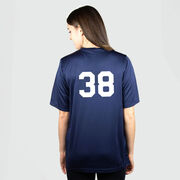 Girls Lacrosse Short Sleeve Performance Tee - My Goal Is To Deny Yours Goalie Stick