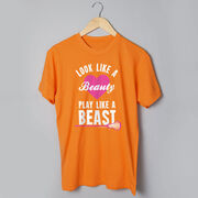Girls Lacrosse Tshirt Short Sleeve Look Like A Beauty Play Like A Beast