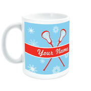 Girls Lacrosse Coffee Mug Personalized Winter Wonderland