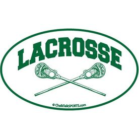 Lacrosse Crossed Sticks Oval Car Magnet (Green)