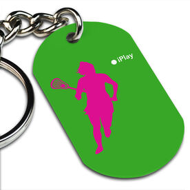 Lacrosse Printed Dog Tag Keychain iPlay Lacrosse (Female)