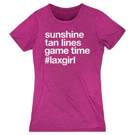 Girls Lacrosse Women's Everyday Tee - Sunshine Tan Lines Game Time
