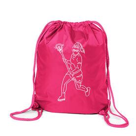 Girls Lacrosse Sport Pack Cinch Sack - Girls Lacrosse Player Sketch
