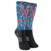 Girls Lacrosse Printed Mid-Calf Socks - Floral Crossed Sticks