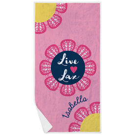 Girls Lacrosse Premium Beach Towel - Live Love Lax Flower